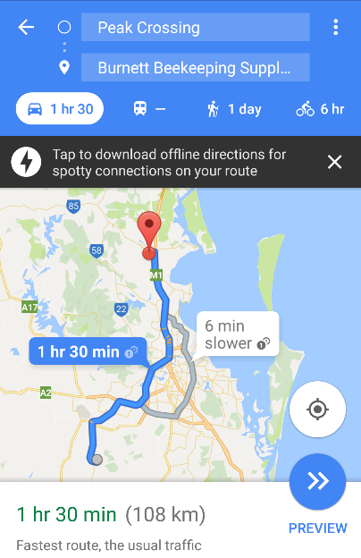 screenshot of google map for Morayfield outlet